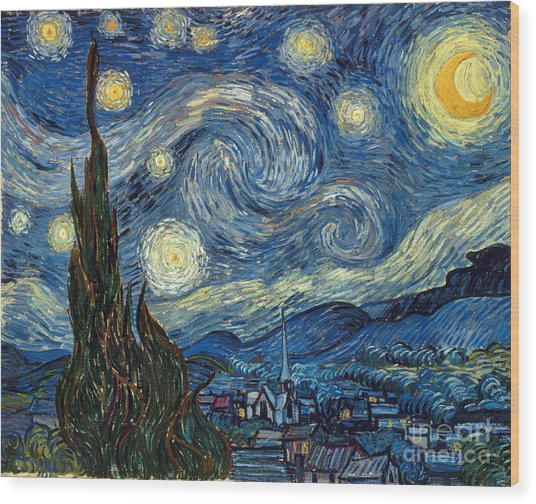 Van Gogh Starry Night Wood Print
