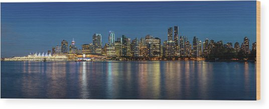 Wood Print featuring the photograph Vancouver City Twilight by Pierre Leclerc Photography