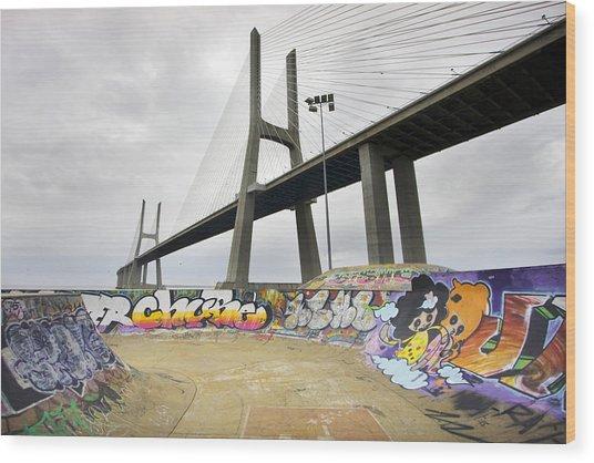 Vasco Da Gama Bridge Wood Print by Andre Goncalves