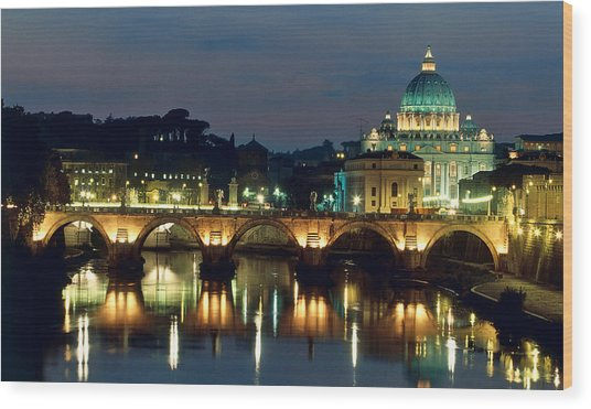 Vatican Skyline  View Of St Peters Basilica In The Evening Wood Print