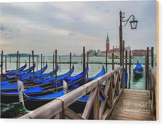 Venice Canal Gondolas  Wood Print by Ken Andersen