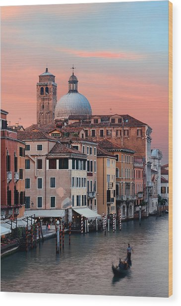 Wood Print featuring the photograph Venice Grand Canal Gondola by Songquan Deng
