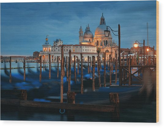 Wood Print featuring the photograph Venice Grand Canal Viewed At Night by Songquan Deng