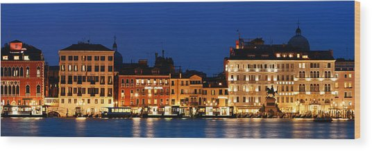 Wood Print featuring the photograph Venice Skyline At Night Panorama by Songquan Deng