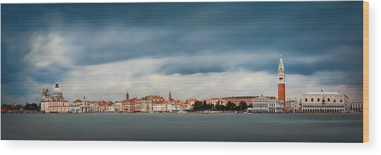 Wood Print featuring the photograph Venice Skyline Panorama by Songquan Deng