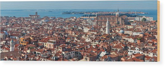 Wood Print featuring the photograph Venice Skyline Panorama Viewed From Above  by Songquan Deng