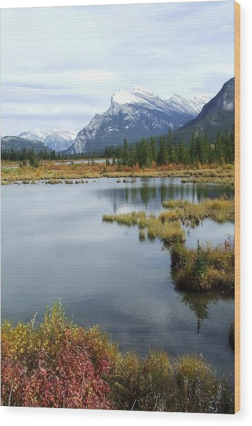 Vermillion Lakes Wood Print by Tiffany Vest