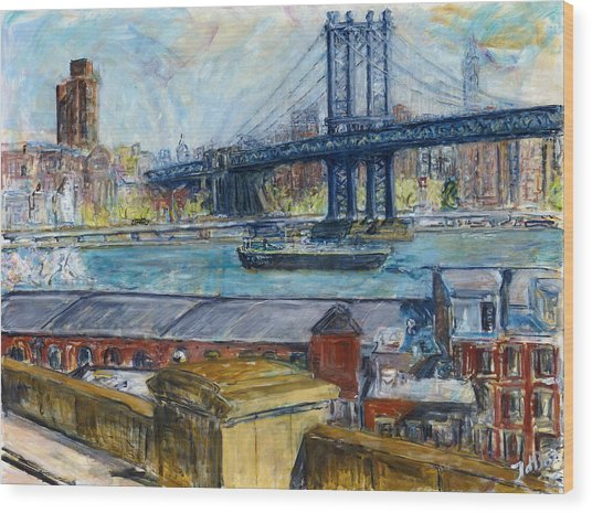 View From Brooklyn Bridge Wood Print by Joan De Bot