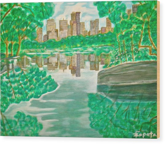 View From Oak Bridge Central Park Wood Print