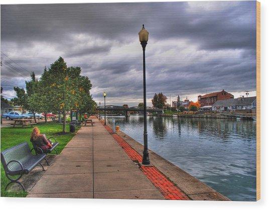 View Of Delaware Bridge At Erie Canal Harbor Wood Print