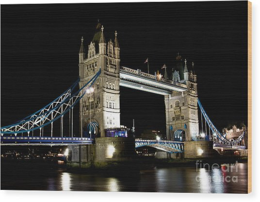 View Of The River Thames And Tower Bridge At Night Wood Print