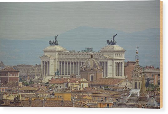 View Of Vittoriano Wood Print by JAMART Photography