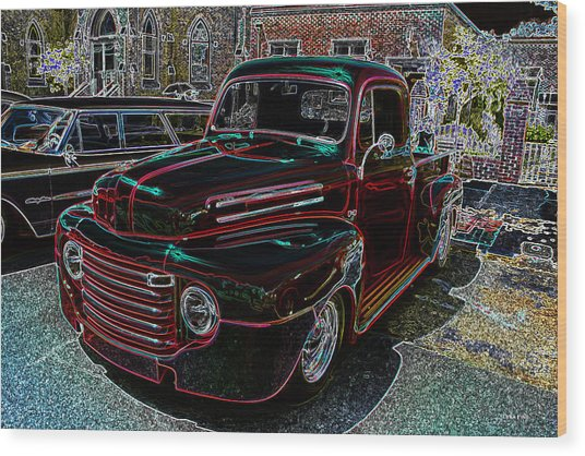 Vintage Chevy Truck Neon Art Wood Print