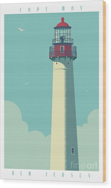 Cape May Poster - Vintage Travel Lighthouse  Wood Print
