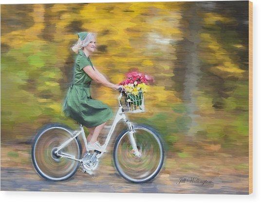 Wood Print featuring the digital art Vintage Val Bike Ride by Jill Wellington