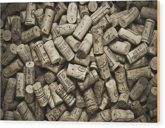 Vintage Wine Corks Wood Print