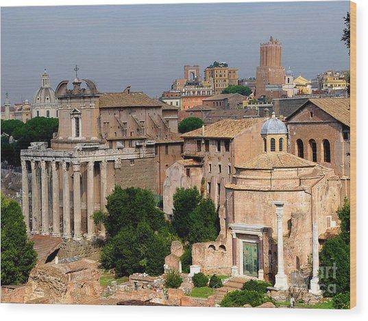 Visions Of Rome Wood Print by Nancy Bradley