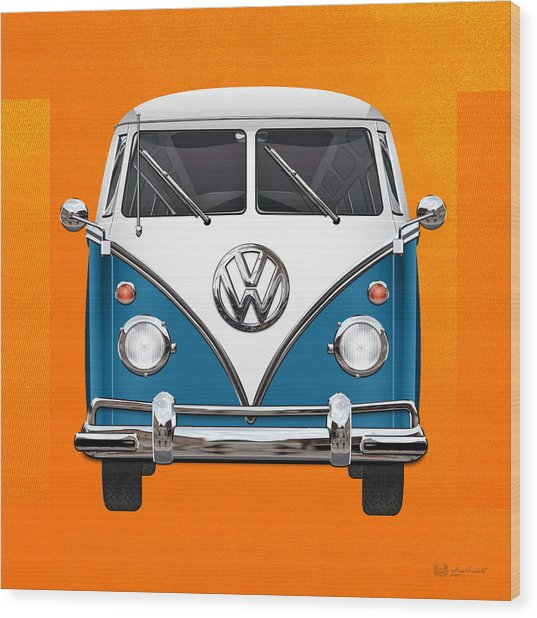 Volkswagen Type 2 - Blue And White Volkswagen T 1 Samba Bus Over Orange Canvas  Wood Print