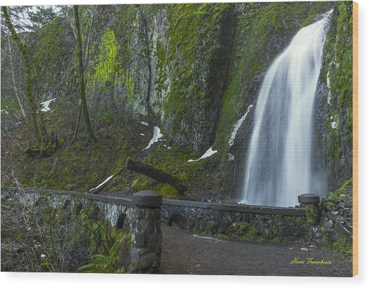 Wahkeena Falls Bridge Signed Wood Print