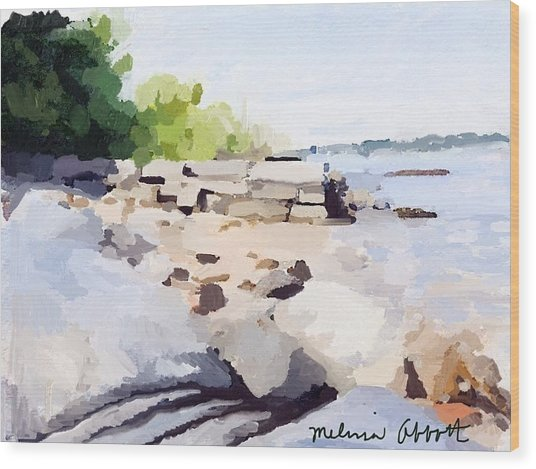 Wall And Beach At Ten Pound Island Wood Print