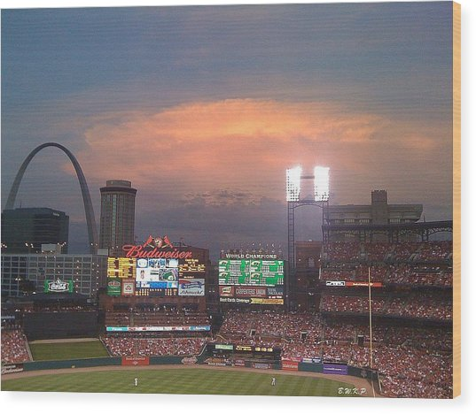 Warm Glow Over St. Louis Arch And Stadium Wood Print