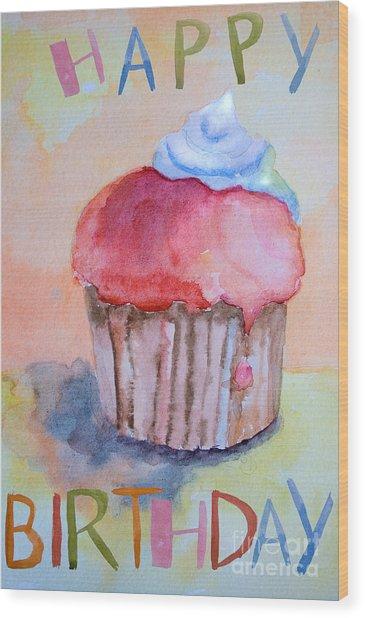 Watercolor Illustration Of Cake  Wood Print