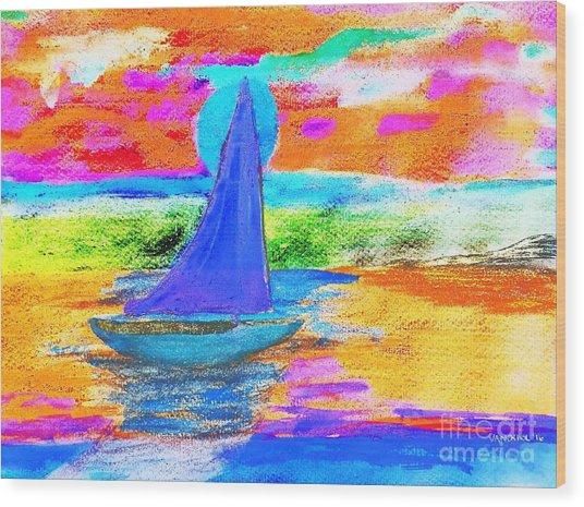 Watercolor Sailing Wood Print