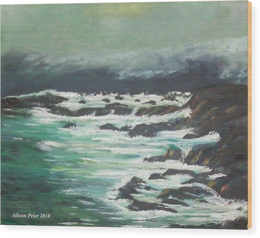 Waves In The Cove Wood Print by Allison Prior