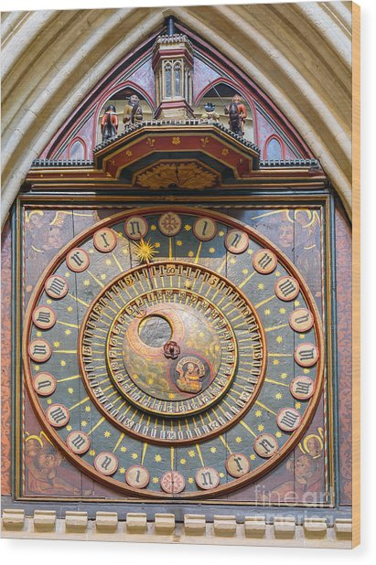Wells Cathedral Clock Wood Print