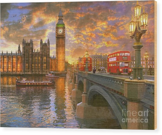 Westminster Sunset Wood Print