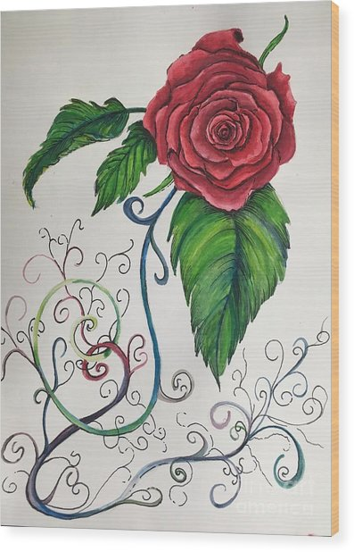 Whimsical Red Rose Wood Print