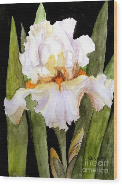 White Iris In The Garden Wood Print