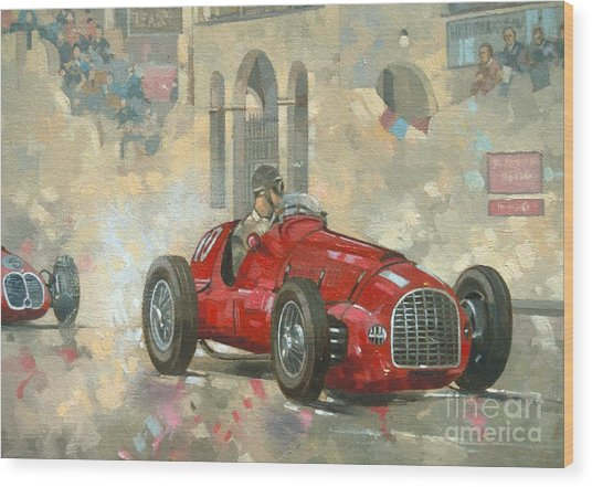 Whitehead's Ferrari Passing The Pavillion - Jersey Wood Print