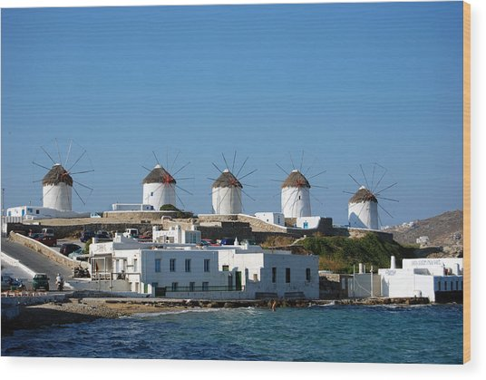 Windmills Of Mykonos Wood Print