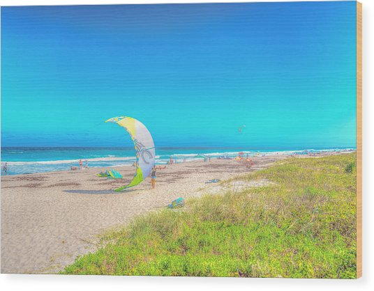 Windsurf Beach Wood Print
