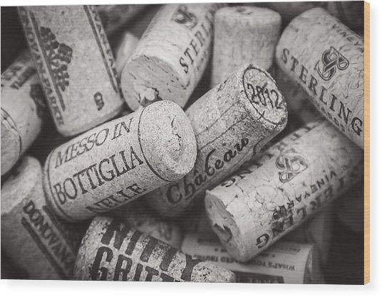 Wine Corks Black And White Wood Print