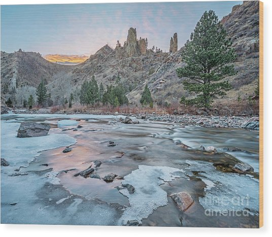 winter dusk over Poudre Canyon Wood Print