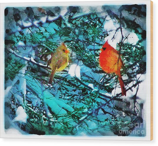 Winter Love Wood Print by Gina Signore