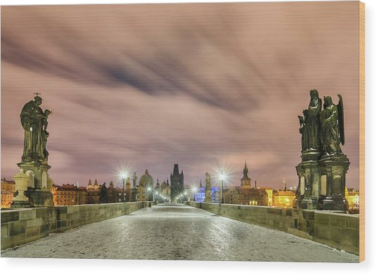 Winter Night At Charles Bridge, Prague, Czech Republic Wood Print
