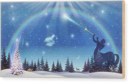Winter Night Wood Print by Harald Dastis