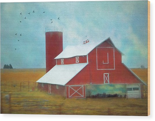 Winter Red Barn Wood Print