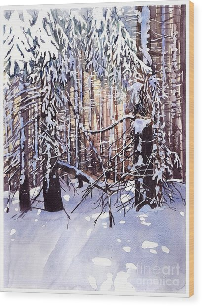 Wintertime Painting Wood Print