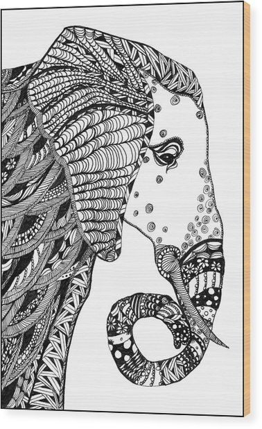 Wise Elephant Wood Print