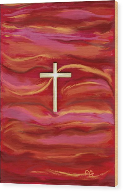 Wooden Cross Wood Print by BlondeRoots Productions