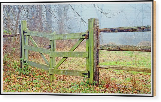 Wooden Fence On A Foggy Morning Wood Print