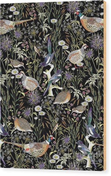 Woodland Edge Birds Wood Print
