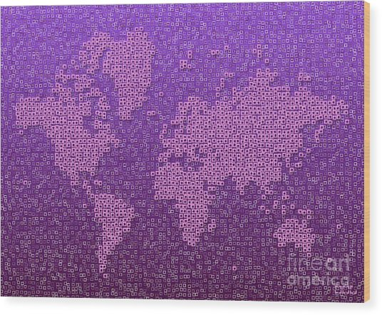 World Map Kotak In Purple Wood Print
