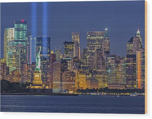 Wood Print featuring the photograph World Trade Center Wtc Tribute In Light Memorial II by Susan Candelario