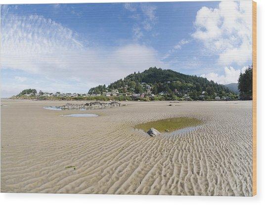 Yachats River At Low Tide Wood Print