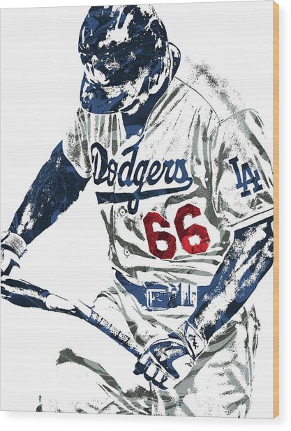 Yasiel Puig Los Angeles Dodgers Pixel Art Wood Print